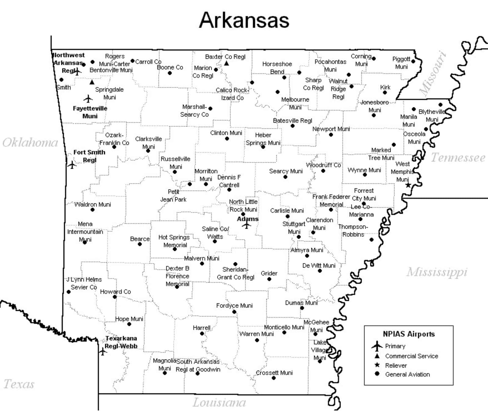 Map Of Arkansas Airports Arkansas Airport Map   Arkansas Airports Map Of Arkansas Airports