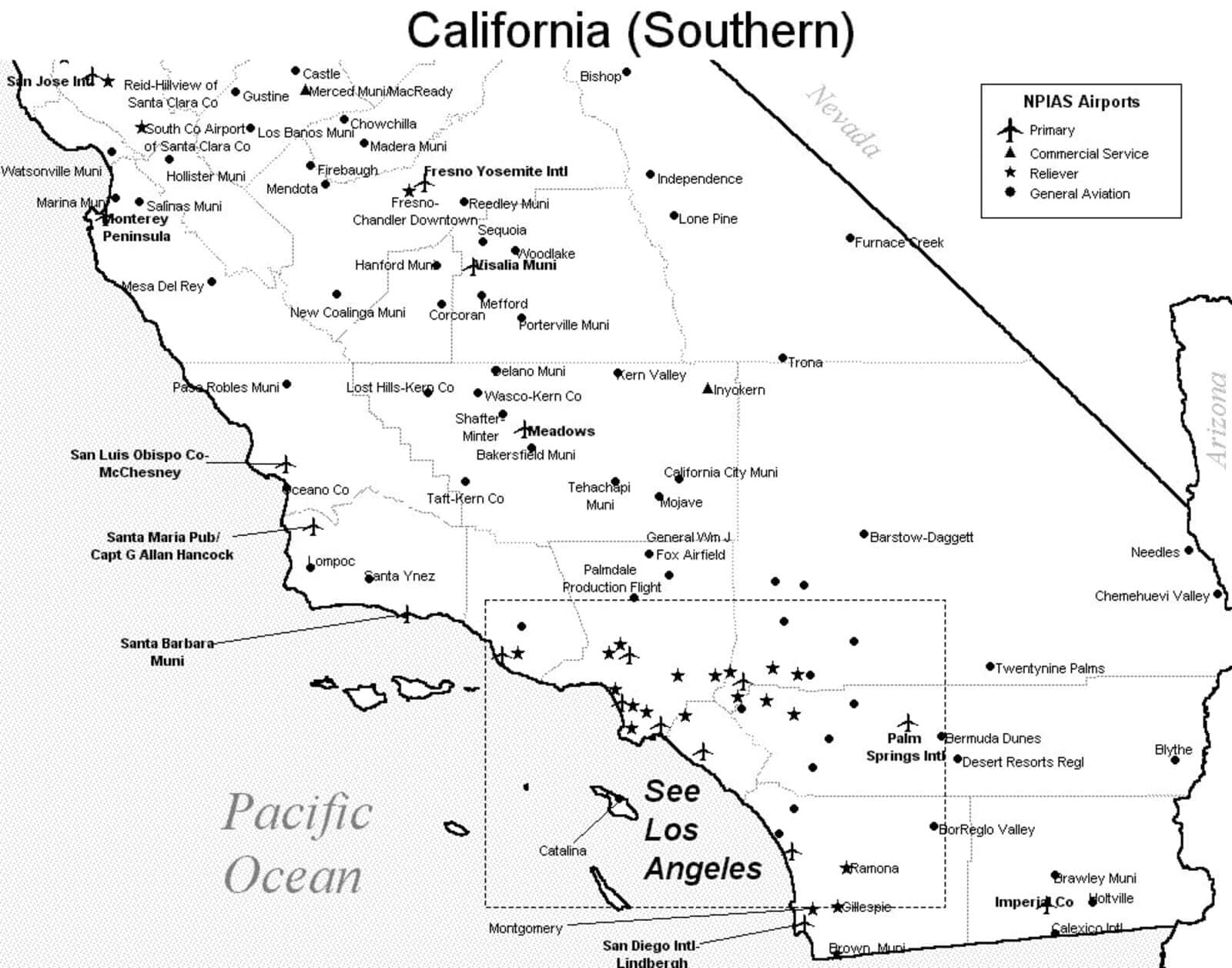 Southern California Airport Map - Southern California Airports