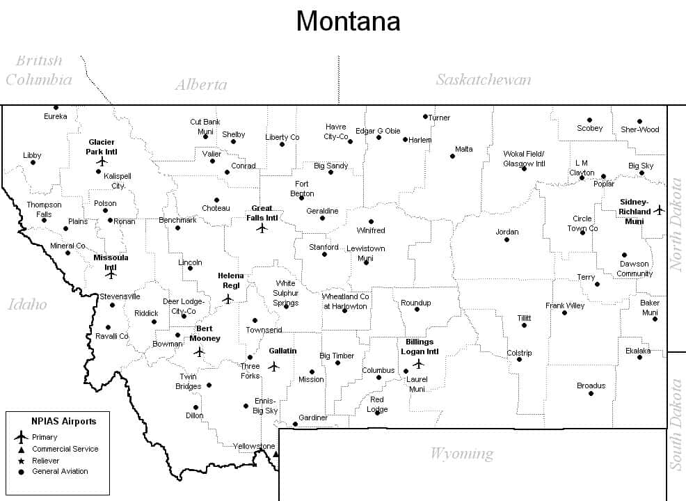Montana Airport Map   Montana Airports