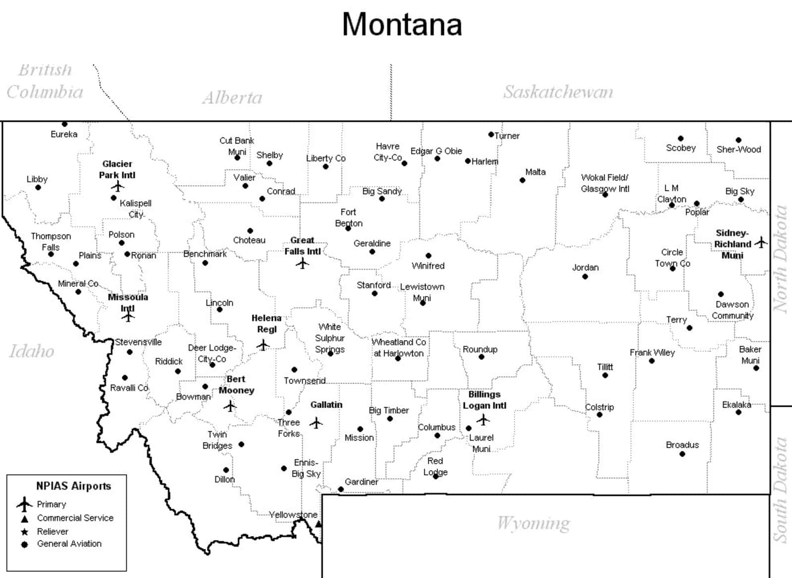 map of airports in montana Montana Airport Map Montana Airports map of airports in montana