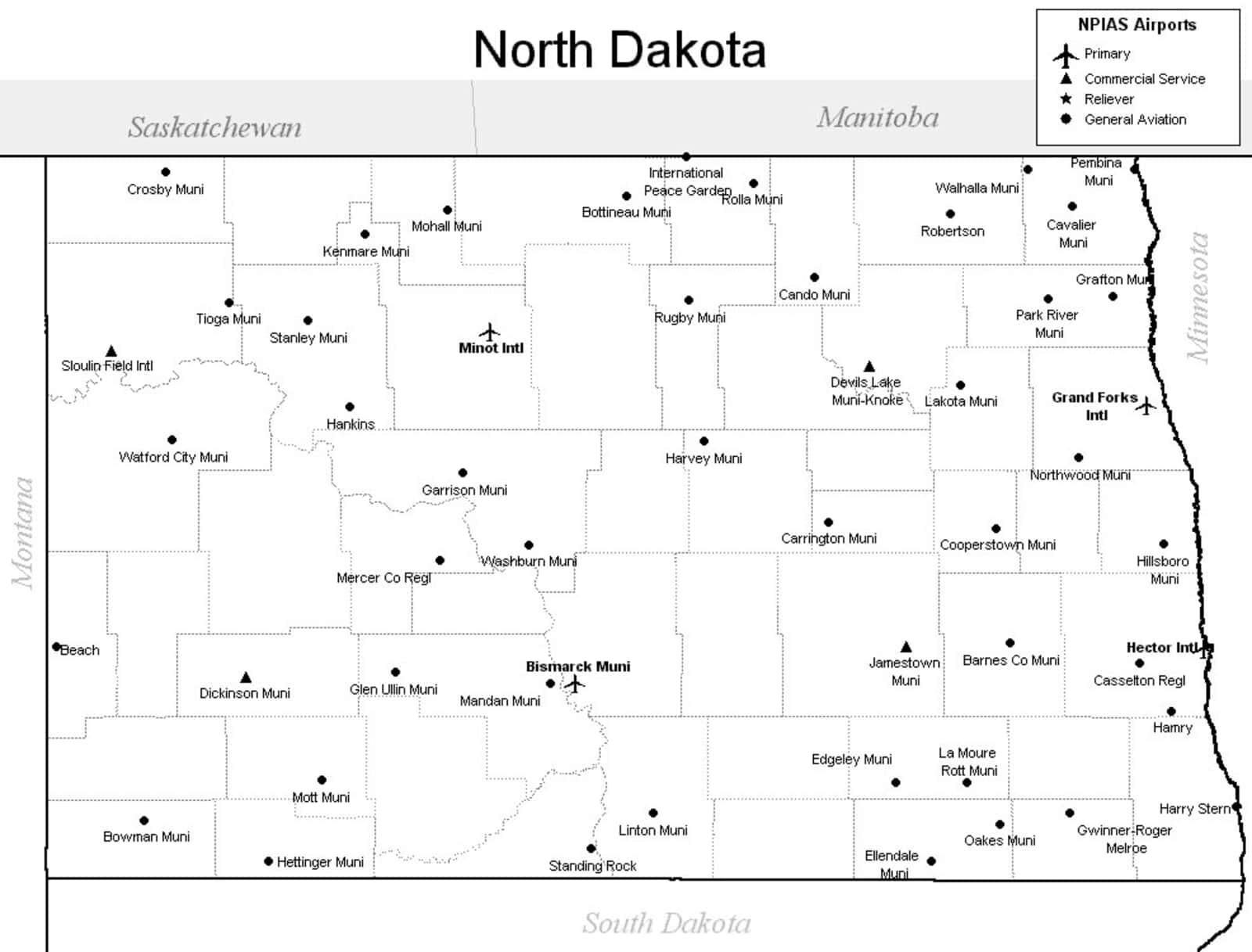 North Dakota Airport Map - North Dakota Airports