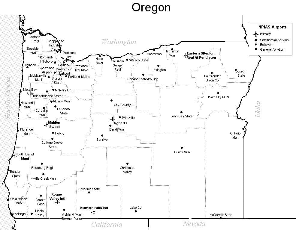 Oregon Airport Map Oregon Airports