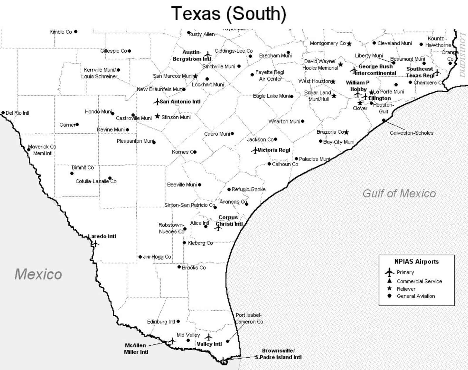 South Texas Airport Map South Texas Airports