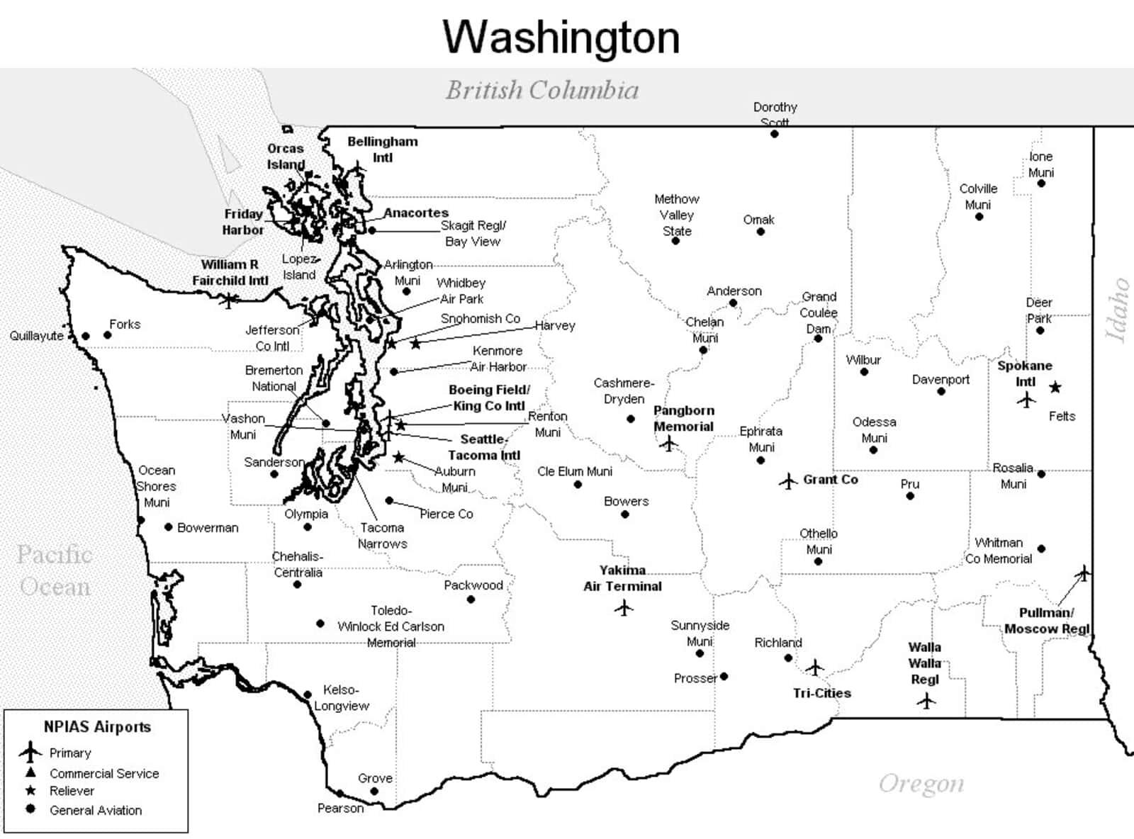 Washington Airport Map - Washington Airports