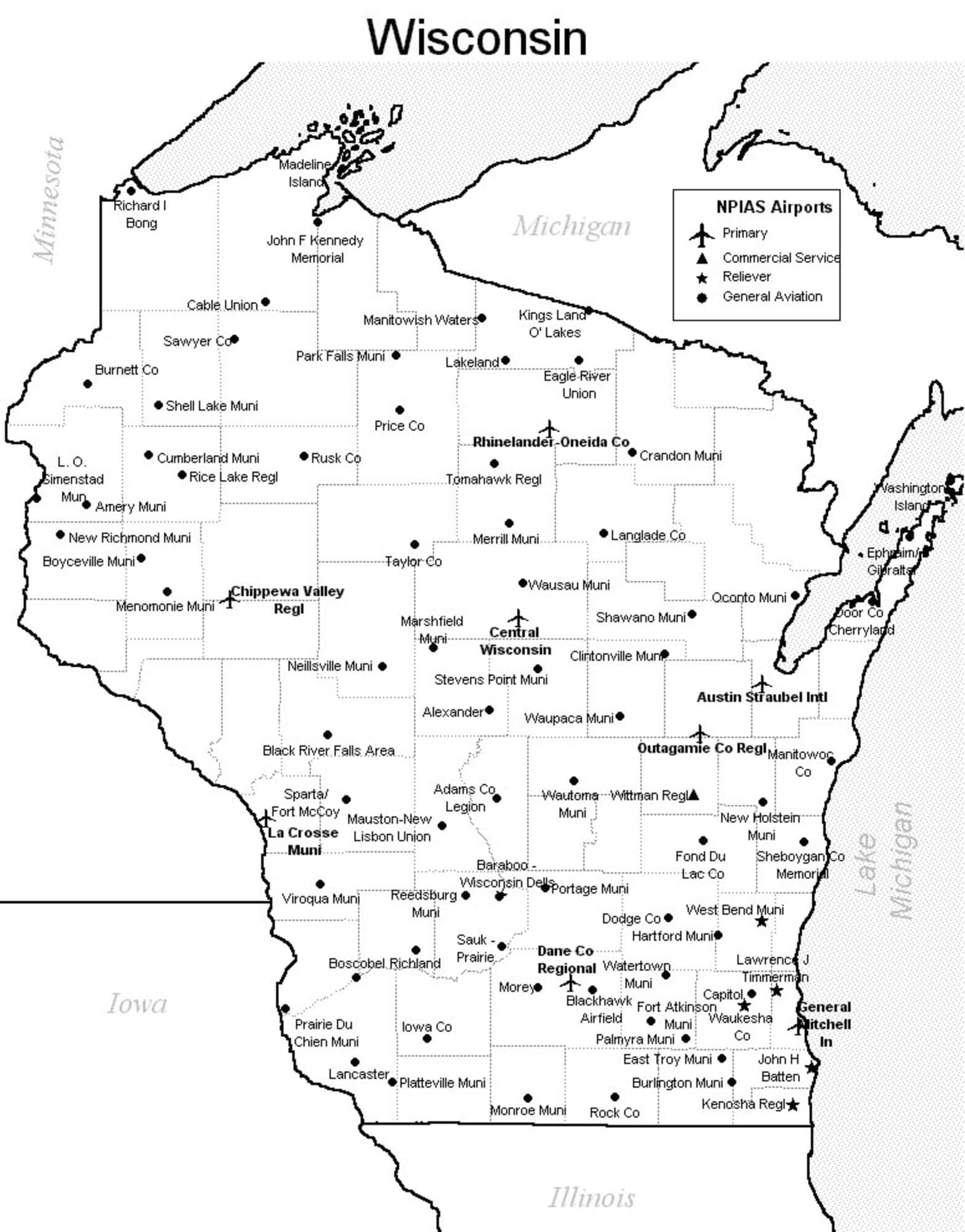 Airports In Wisconsin Map Wisconsin Airport Map   Wisconsin Airports
