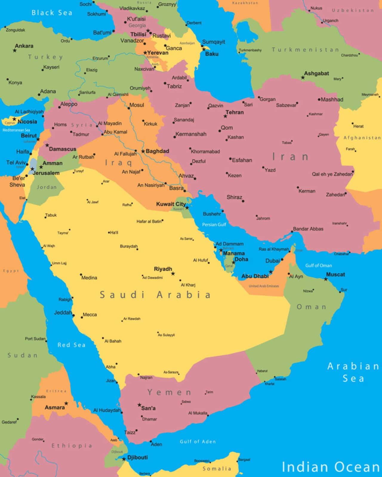 middle east cities map
