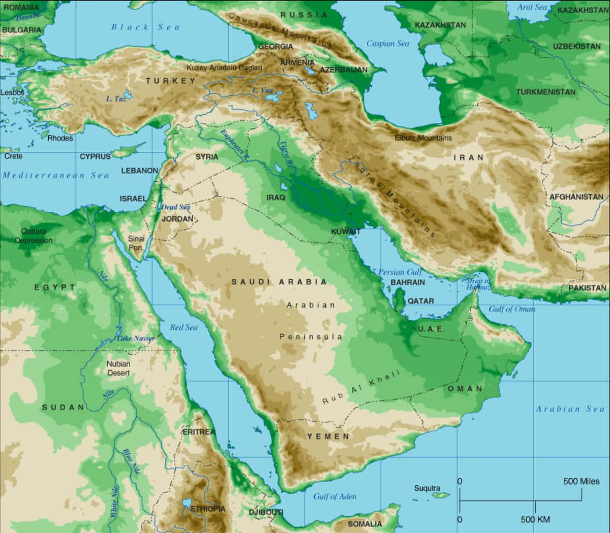 Middle East Topographical Map
