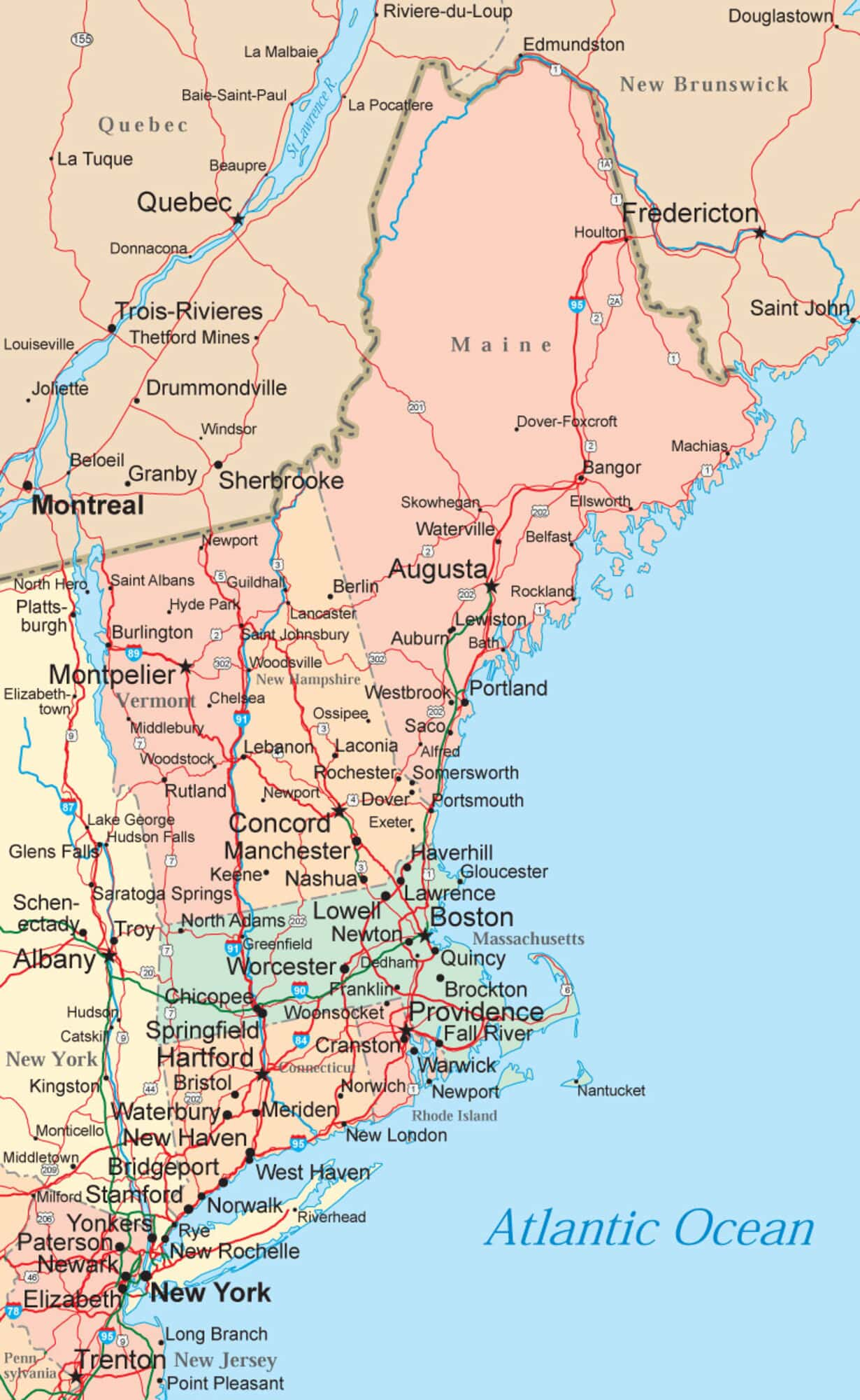 New England Map - Maps of the New England States