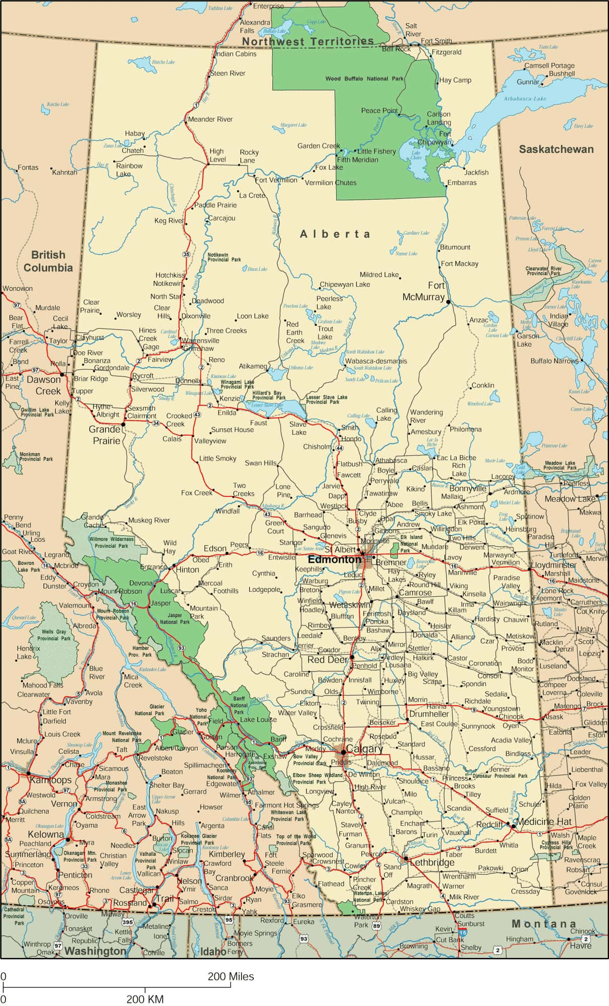 Map Of Alberta Canada With Cities And Towns Alberta Map   Detailed Map of Alberta Canada