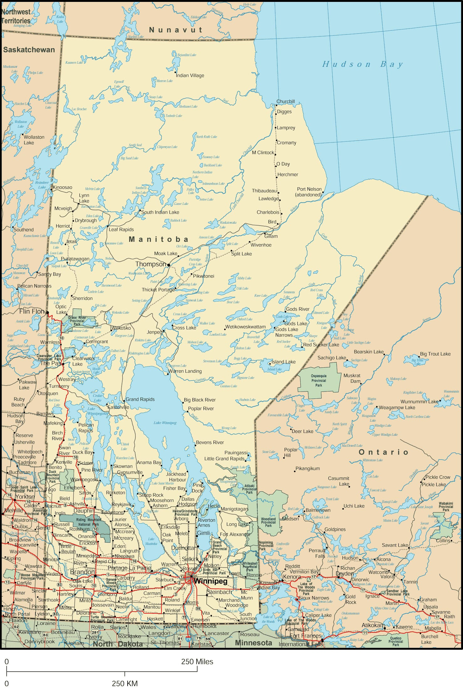 Manitoba Map Detailed Map of Manitoba Canada