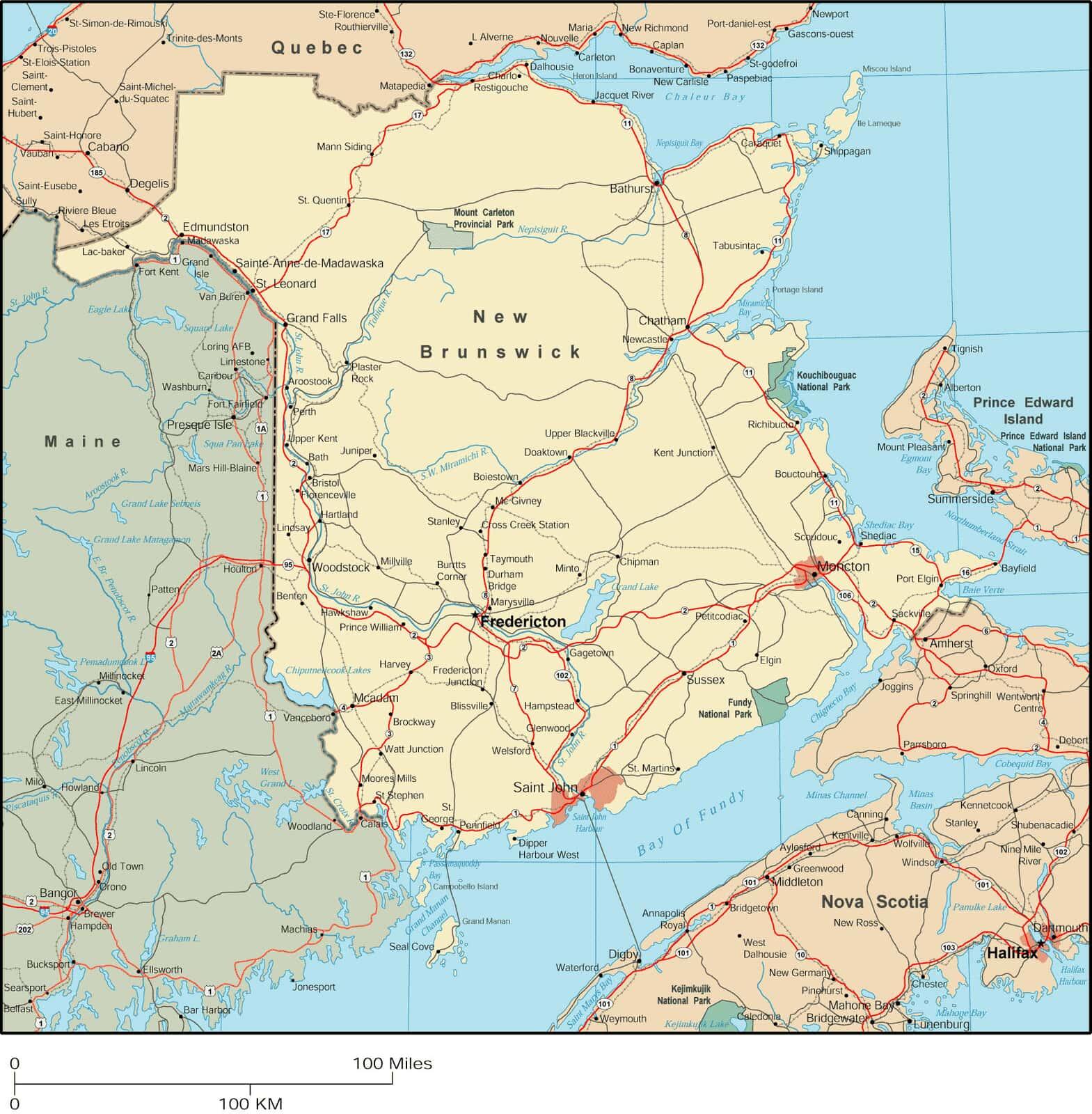 New Brunswick Map Detailed Map Of New Brunswick