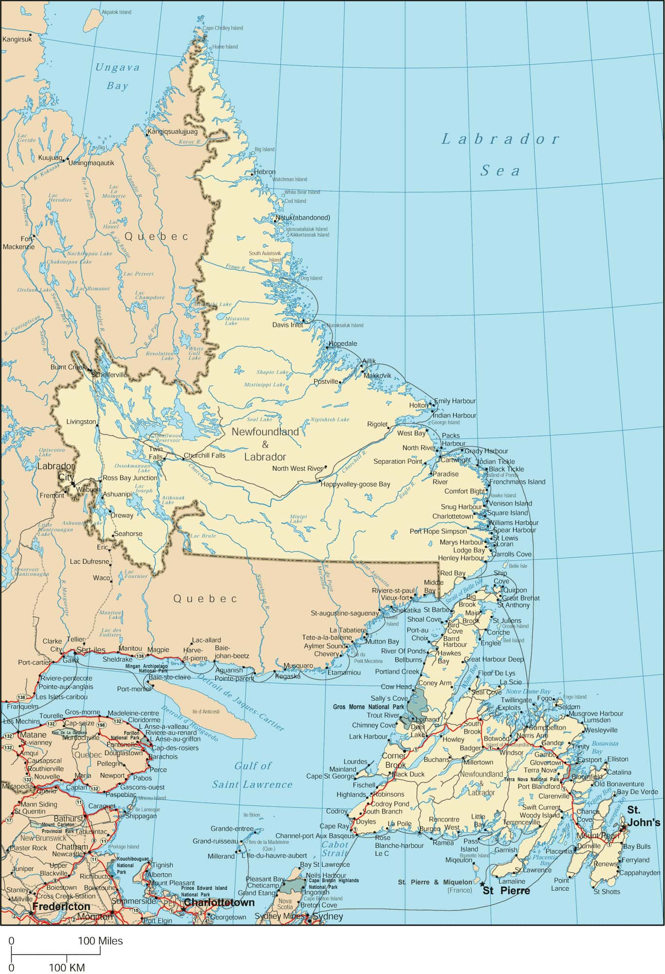 for enhanced readability use a large paper size with small margins to print this large map of newfoundland and labrador