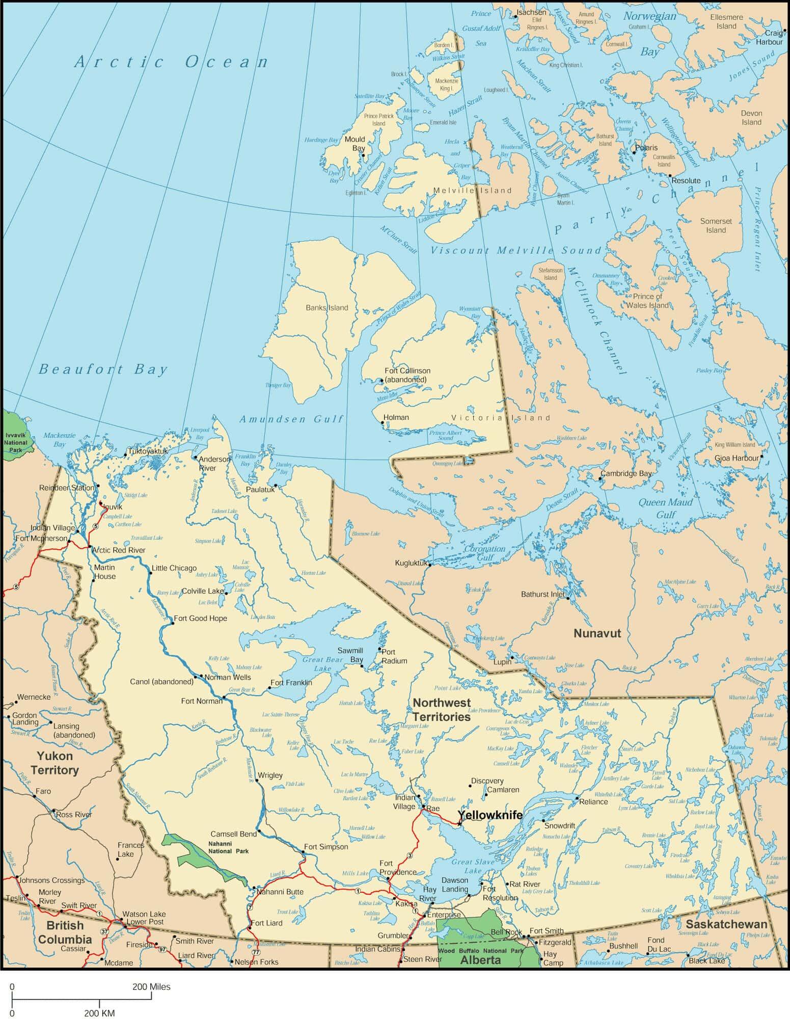 Northwest Territories Map - Map of Northwest Territories