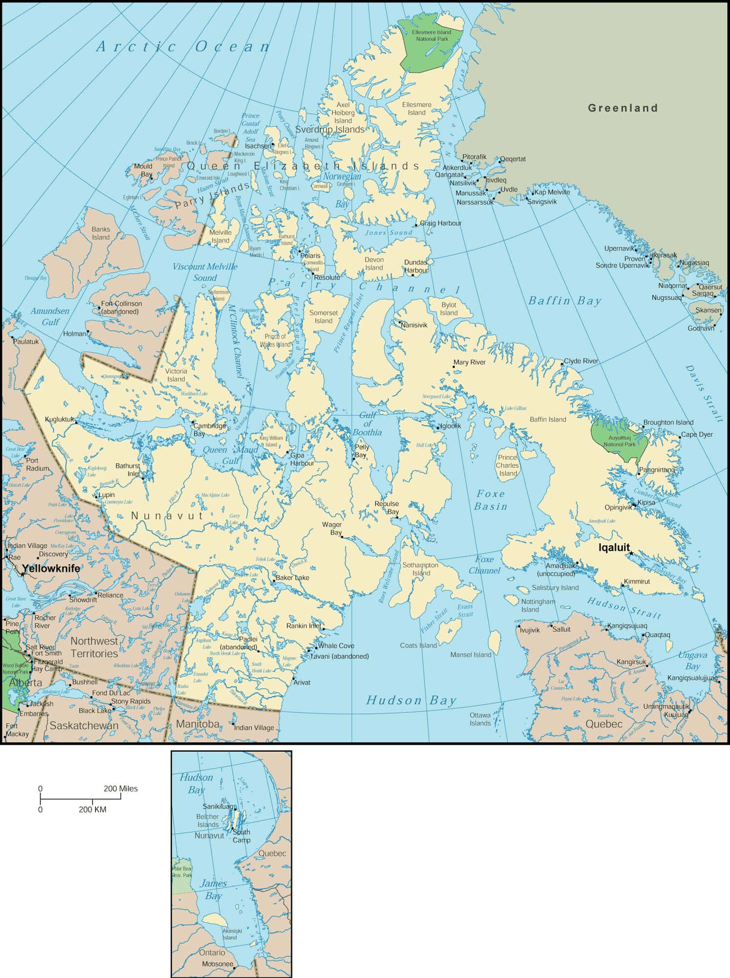 Small Map Of Canada.Nunavut Map Detailed Map Of Nunavut Canada