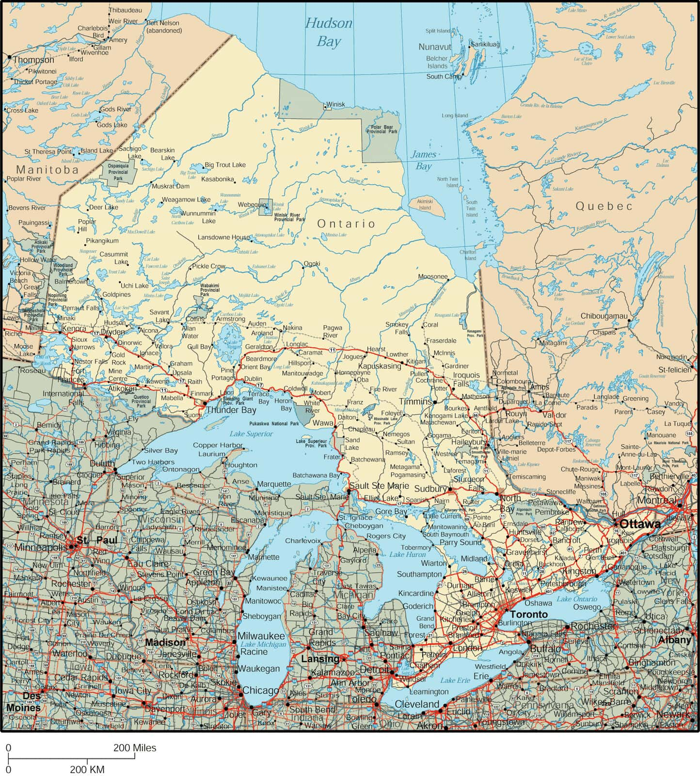 Onterio Canada Map.Ontario Map Detailed Map Of Ontario Canada
