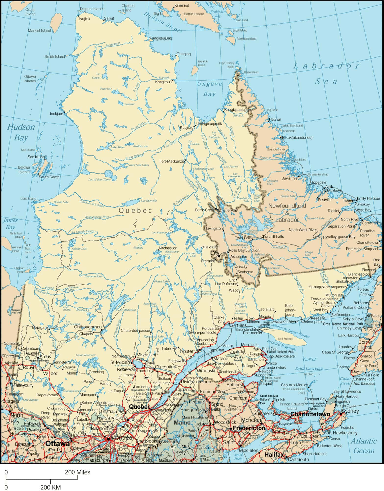 Quebec On Map Of Canada.Quebec Map Detailed Map Of Quebec Canada