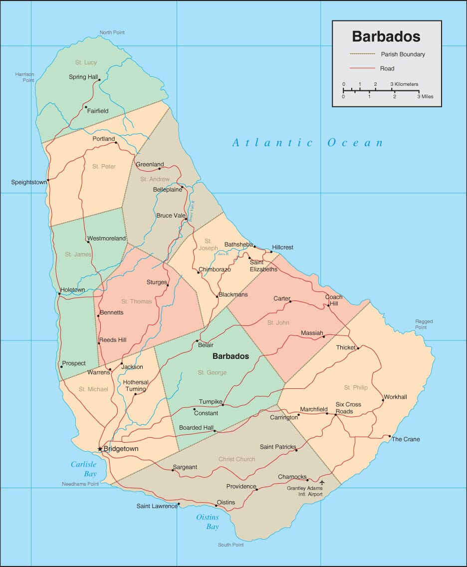 Barbados Map Detailed Map of Barbados