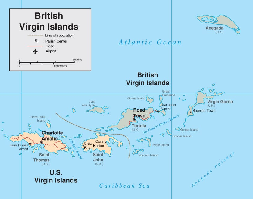 British Virgin Islands Map Detailed Map of BVI
