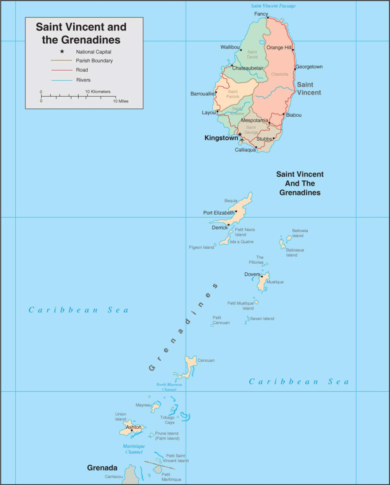 St Vincent Map - Map of St Vincent and the Grenadines