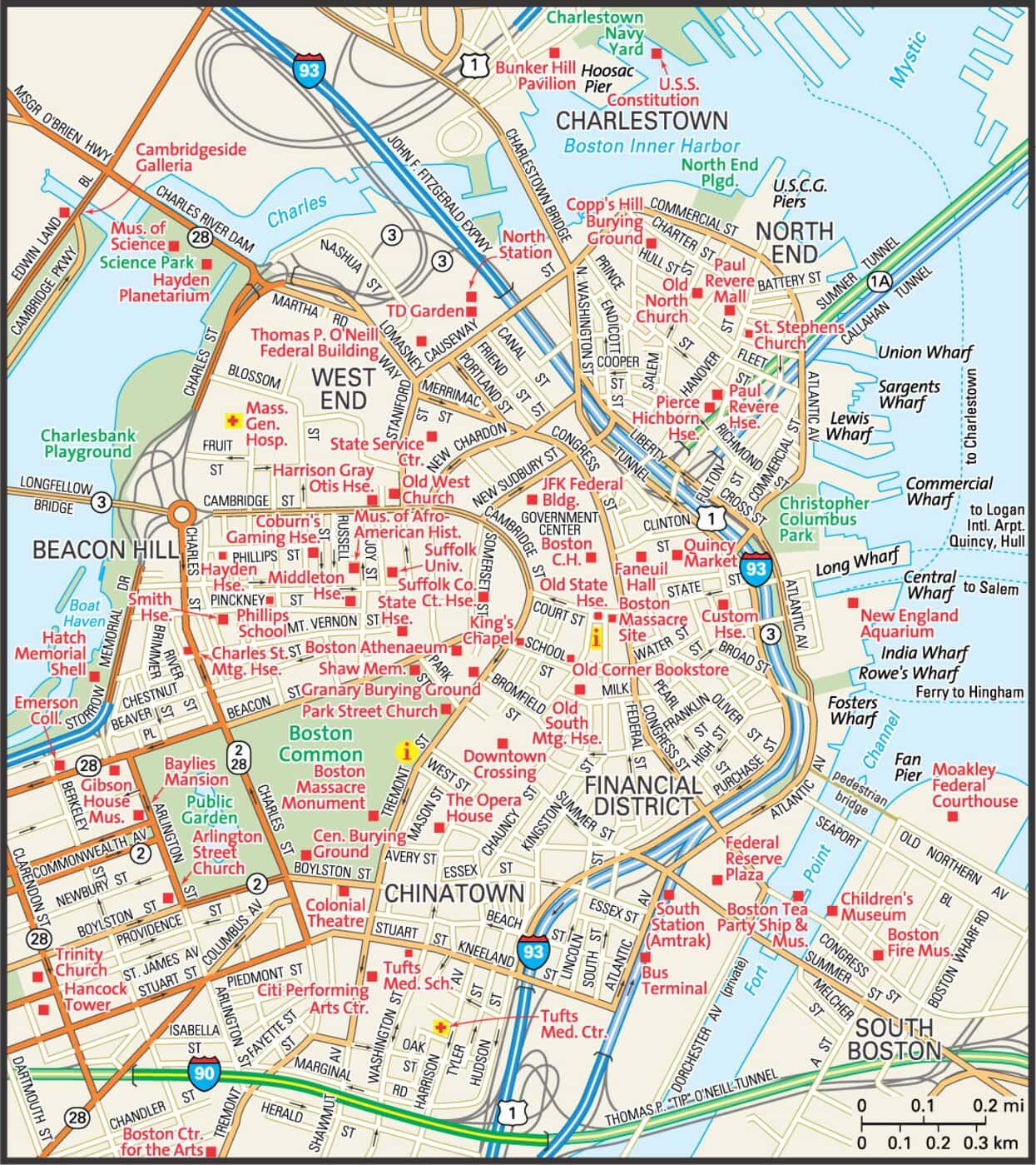 Boston Map Guide To Boston Massachusetts - Boston-on-map-of-us