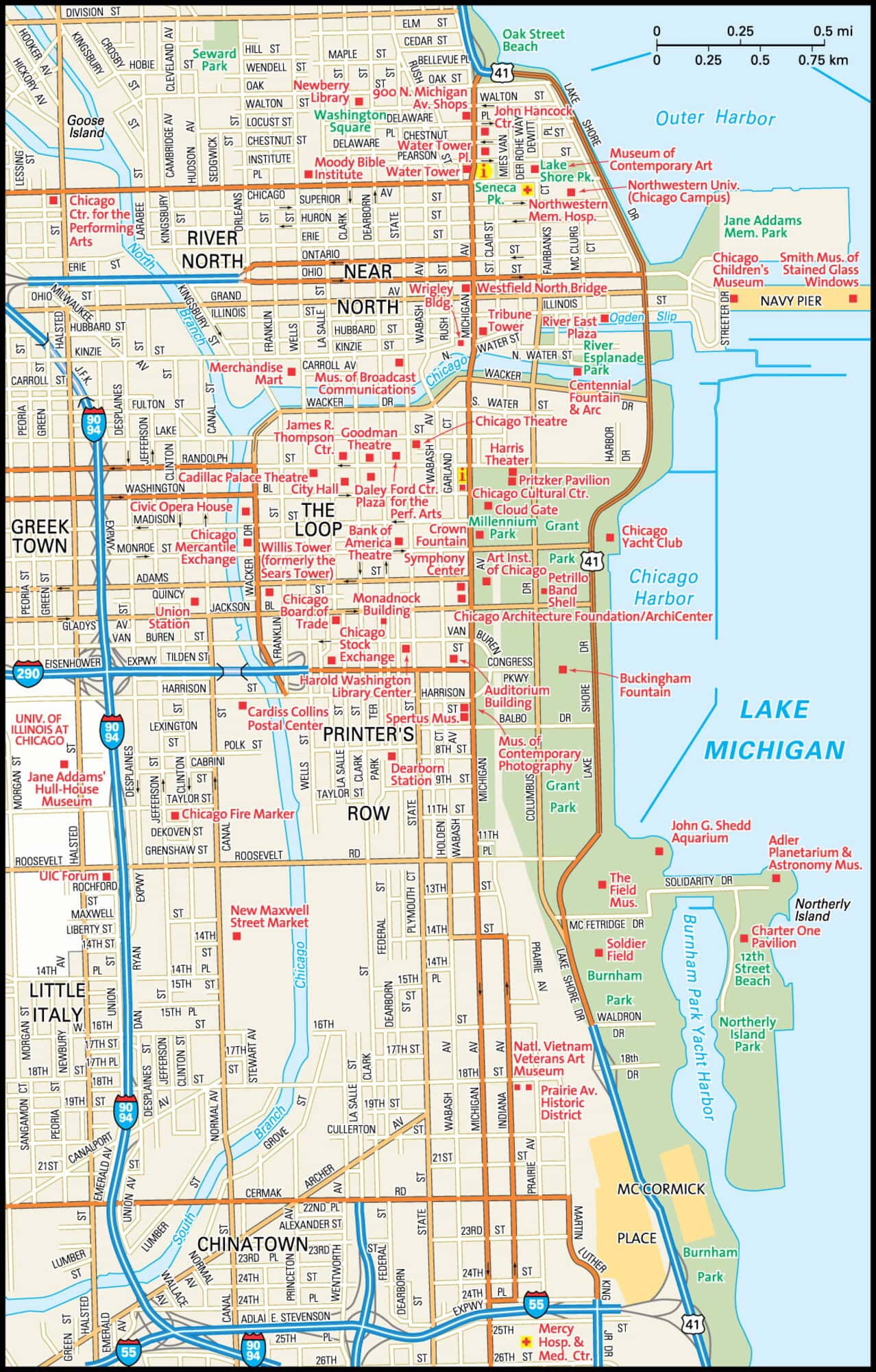 Down Town Chicago Map Downtown Chicago Map With Hotels on