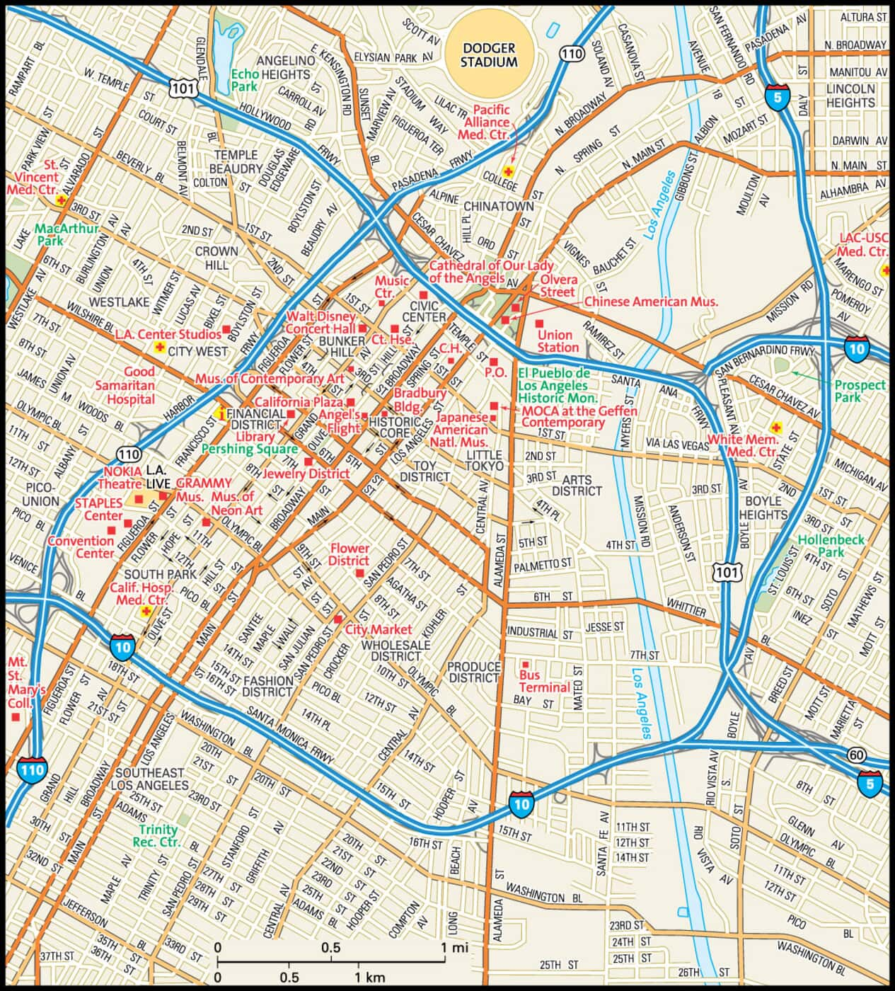 Los Angeles Map Guide To Los Angeles California