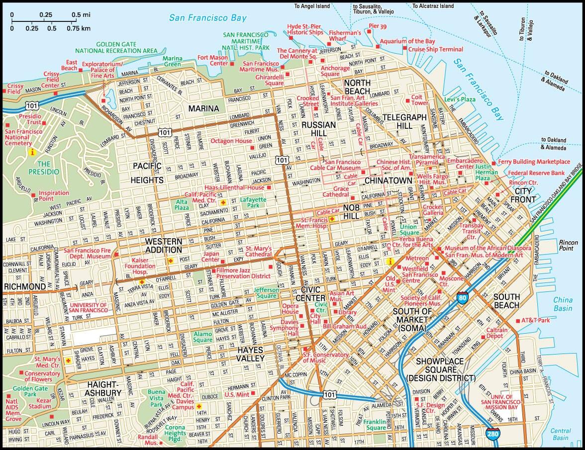 San Francisco Map Guide to San Francisco California