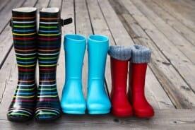 three pairs of boots