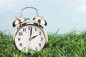 alarm clock on green lawn