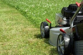 lawn mower on a green lawn