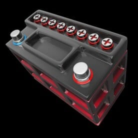 3D rendering of a car battery