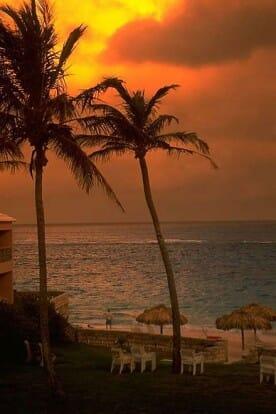 golden sunset at a Bermuda resort hotel