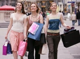 young women wearing, and shopping for, apparel