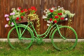 vintage bicycle with colorful flowers