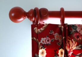 wood curtain rod with round finial