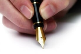 writing with a fountain pen