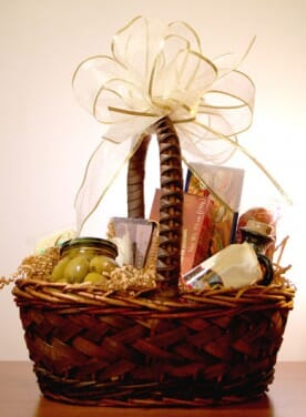 woven basket with gourmet foods