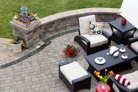 Enclosed Paver Patio with Patio Furniture