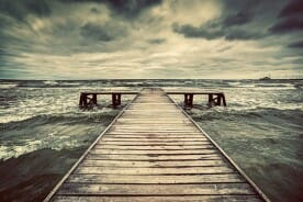 wooden jetty on a stormy day
