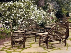 bent willow furniture on a patio