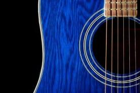 Blue Acoustic Guitar Close-up