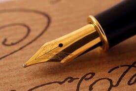 Black Fountain Pen with Gold Nib