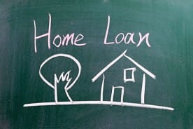Home Loan Sign with House and Tree