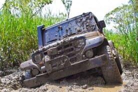 Off-road Vehicle Stuck in Mud