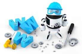 robot with website building tools