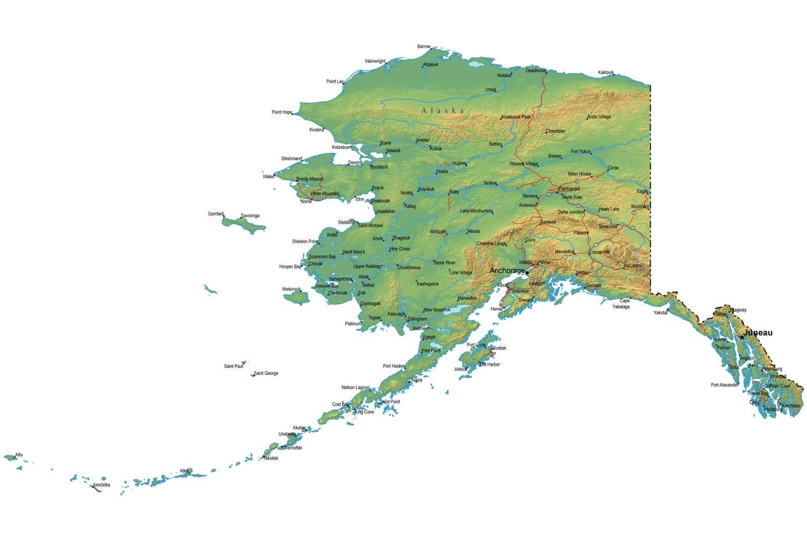 Detailed Alaska Map - AK Terrain Map