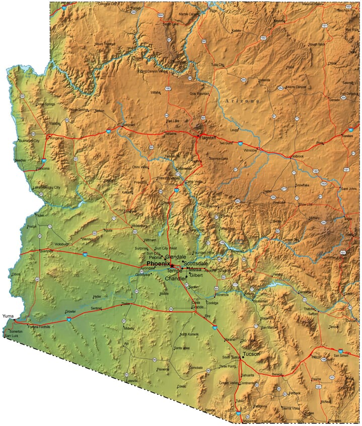 Detailed Arizona Map AZ Terrain Map - Detailed map of arizona