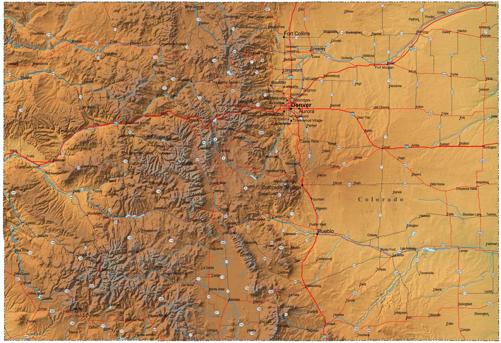 Detailed Colorado Map - CO Terrain Map