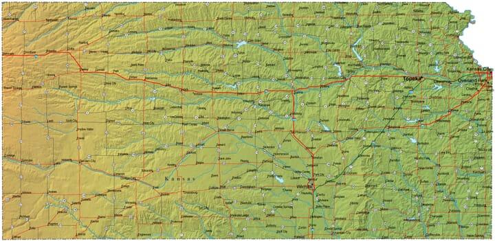 Detailed Kansas Map KS Terrain Map - Kansas map