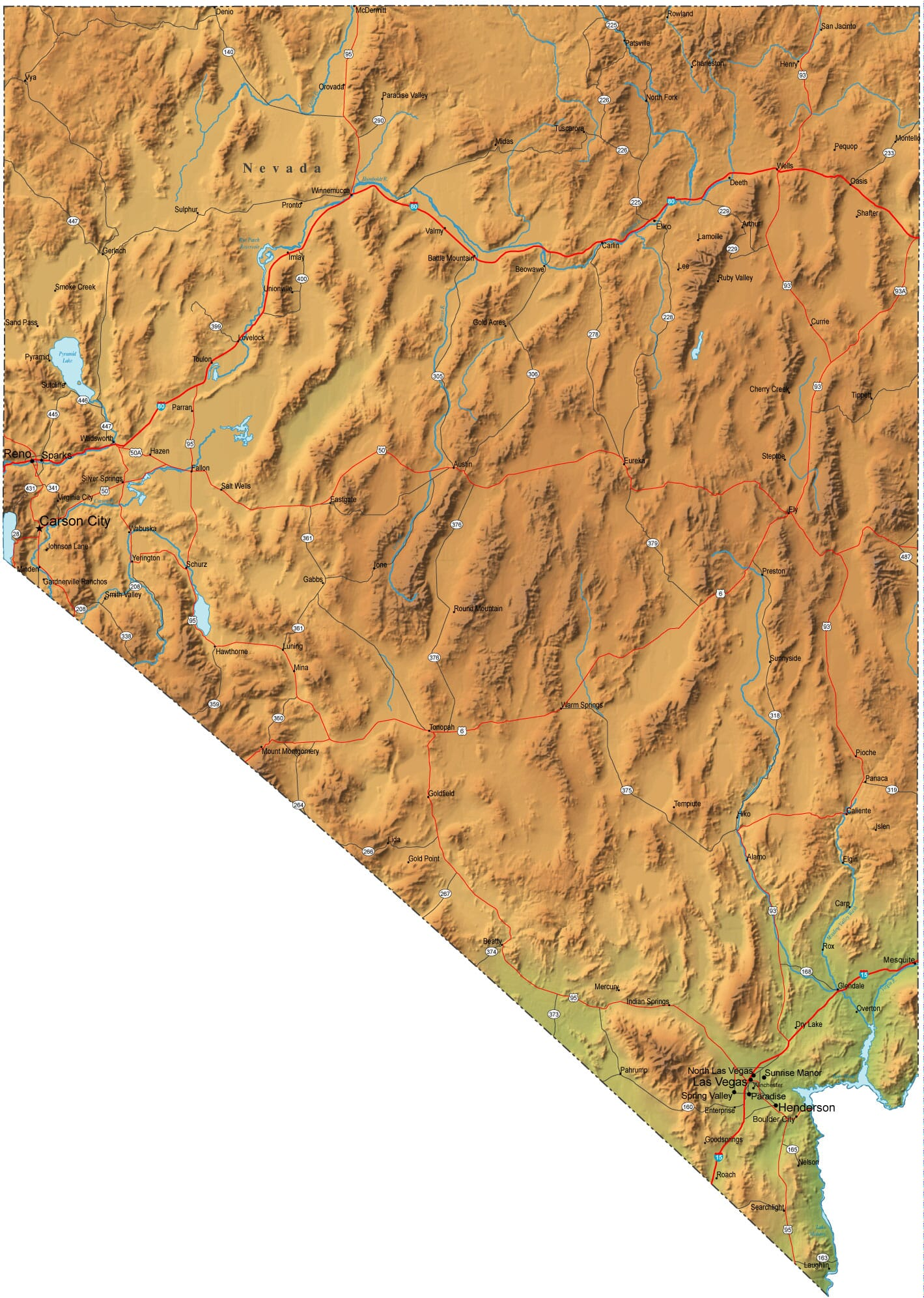Detailed Nevada Map NV Terrain Map